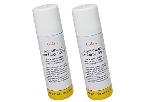 Gigi Anesthetic Numbing Spray for Sensitive Skin Is a Topical Analgesic Spray That Gently Desensitizes the Skin Prior to Waxing with 4% Lidocaine -Size 1.5 Oz (Pack of 2) - Spray Analgesic