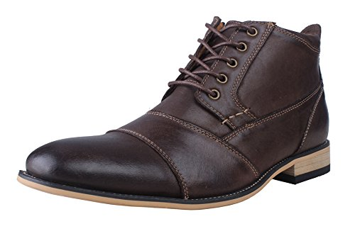 Kunsto Men's Genuine Leather Oxfords Dress Ankle Boots with Zipper Dark Brown Size 14
