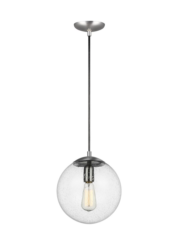 Sea Gull Lighting 6601801-04 Hanging Globe Pendant, 1-Light 100 Watts, Satin Aluminum