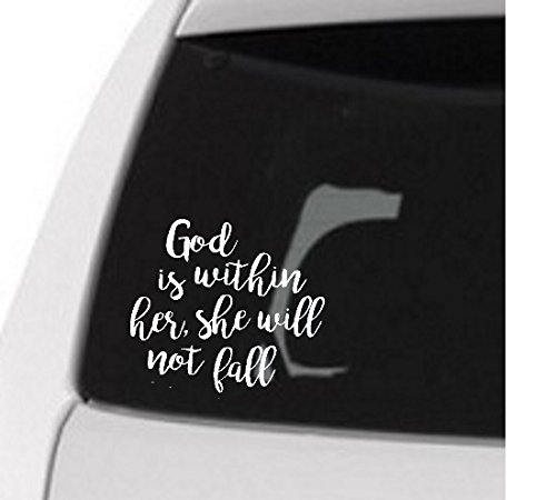 Scripture Verse Decal - Psalm 46:5 God is within her - White Vinyl Sticker for Laptop or Notebook by Say It Stickers (Image #1)