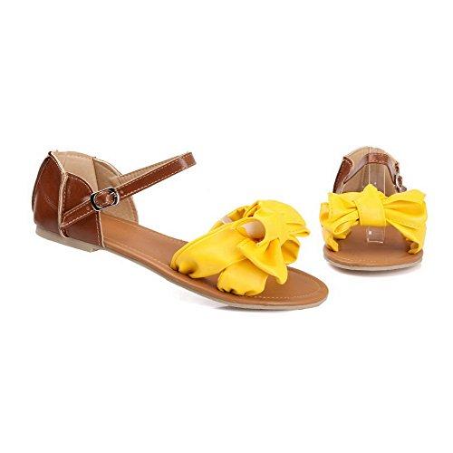 AalarDom Mujer Puntera Abierta Mini Tacón Material Suave Hebilla Sandalias de vestir Amarillo(1.5)