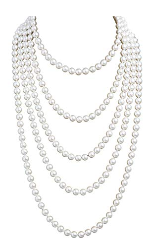 - 1920s Pearls Necklace Gatsby Accessories Vintage Costume Jewelry Faux Ivory Pearl Cream Long Necklace for Women (1A-White-1)