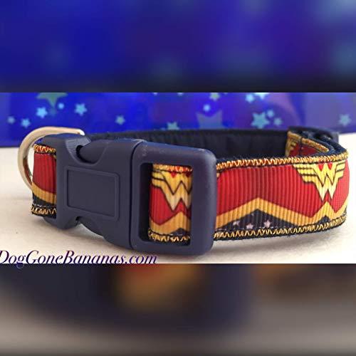 Wonder Woman Dog Collar with Leash Option