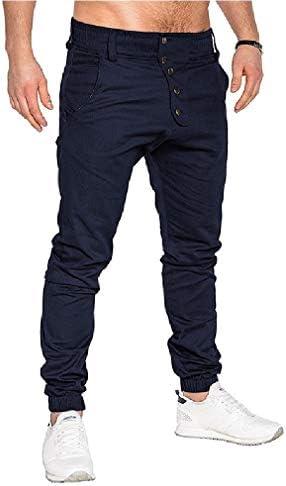 VITryst メンズラグジュアリーソリッドカラーボタンダウンポケット付きランニングパンツ