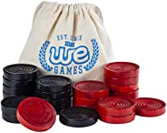 WE Games Wood Checker Pieces with Cloth Pouch - Black and Red