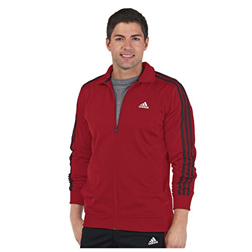 Stripe Warm Up Jacket - adidas Men's Essential Tricot Jacket, Scarlet/Black, Medium