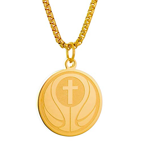 (Cross Basketball Stainless Steel Necklace I CAN DO All Things Bible Verse Necklace Pendant Gold Religious Faith Jewelry with 23'Chain)