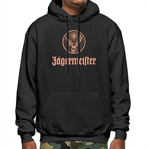 Mens Polyester Sweater Pullover Hoodie Fleece Sweatshirt for Jagermeister Black