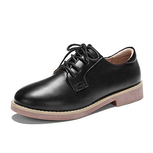 HWF Zapatos para mujer Zapatos planos de primavera de las mujeres británicas del estilo Zapatos de cuero ocasionales de la universidad retra de la hembra ( Color : B , Tamaño : 39 ) C