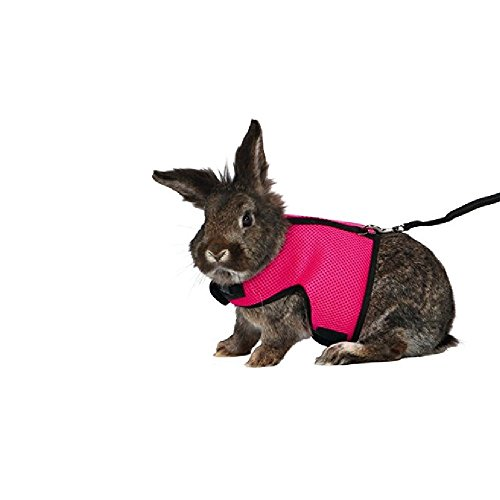 - ASOCEA Soft Harness with Lead for Rabbits/Bunny (Pink)