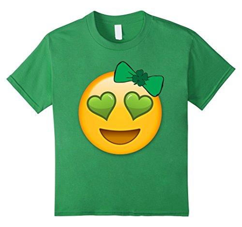 Kids Emoji Saint Patricks Day Shirt Girls Green Heart Eyes Bow 12 Grass (Heart 123)