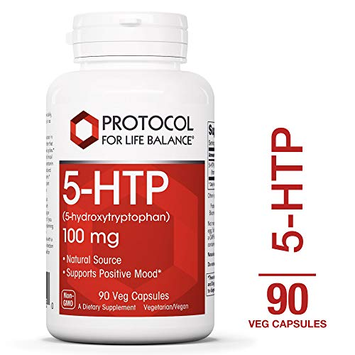 Healthy Sleep Patterns - Protocol For Life Balance - 5-HTP (5-hydroxytryptophan) 100 mg - Supports Positive Mood, Promotes Healthy Sleep Patterns, Natural Weight Loss, & Supports Appetite Suppression - 90 Vcaps