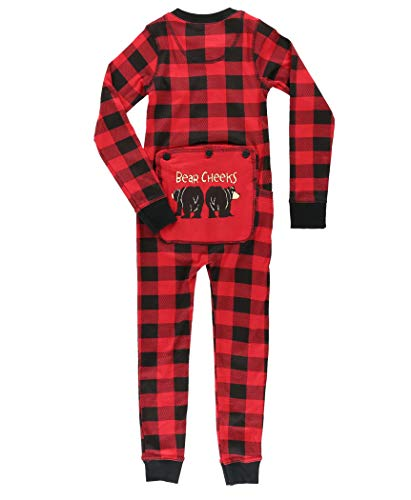 Plaid Bear Cheeks Flapjacks Kids Flapjack Onesie Pajamas by LazyOne | Adult Kid Infant Dog Family Matching Pajamas (10)