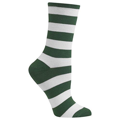 Hot Sox Women's Originals Fashion Crew Socks, College Rugby Stripe (Leaf/White), Shoe Size 4-10/Sock Size 9-11