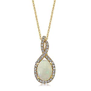 Helzberg Diamonds 10K Yellow Gold Natural White Opal & 1/5 cttw Round Brilliant-Cut Diamond (H-I Color, I2-I3 Clarity) Pendant, 18""