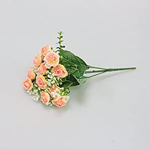 FYYDNZA 15 Head Mini Artificial Rose Flower Silk Flowers Simulation Flowers Bouquet For Wedding Home Party Gift Room Decoration 34