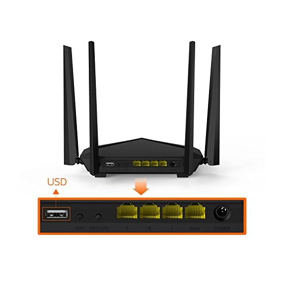 Tenda AC10U Smart Gigabit Wi-Fi Router AC1200 Dual Band w/Parental Control + MU-MIMO + Smart WiFi App Management + USB Port 2 Stream in 4K on multiple devices and get lightning-quick connections by upgrading to Tenda's enhanced 1200 Mbps high speed Wi-fi technology (300mbps@2. 4GHz +867Mbps@5GHz) Link up to 30 wireless devices like the Google assistant, Alexa and various steaming devices, simultaneously, while maintaining optimum network conditions 4 omni-directional antennas with beamforming and Mu-Mimo technology, deliver high-speed internet throughout your home and provide seamless coverage for up to 2000 Sq. ft