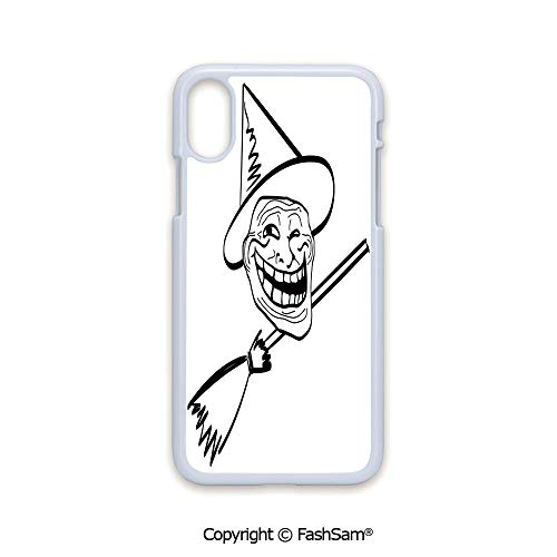Plastic Rigid Mobile Phone case Compatible with iPhone X Black Edge Halloween Spirit Themed Witch Guy Meme LOL Joy Spooky Avatar Artful Image 2D Print Hard Plastic Phone Case -