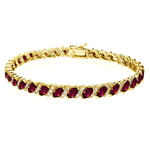 GemStar USA Gold Flashed Sterling Silver Created Ruby Marquise-Cut Tennis Bracelet with White Topaz Accents