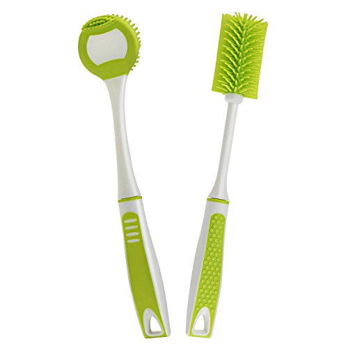 NKTM Silicon Kitchen Brush and Bottle Brush for Cleaning Dish, Pot, Bowl,Bottle(Set of 2) - Rubber Cleaning Brush