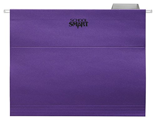 (School Smart Letter Size Hanging File Folders with 1/5 Cut Tab - Pack of 25 - Purple)