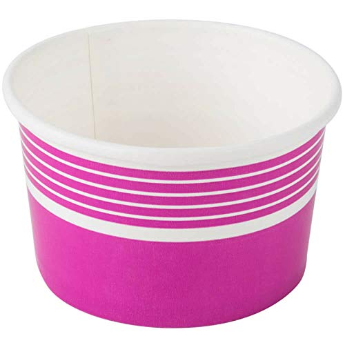(8 oz Pink Frozen Yogurt Paper Cups; Perfect for Sundae, Ice cream or Mixed Fruits (pack of 50))