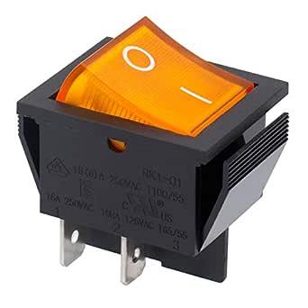 Heschen - Interruptor basculante DPST de encendido y apagado, 4 terminales, luz amarilla, 16 A, 250 V CA, 2 unidades: Amazon.es: Industria, empresas y ciencia