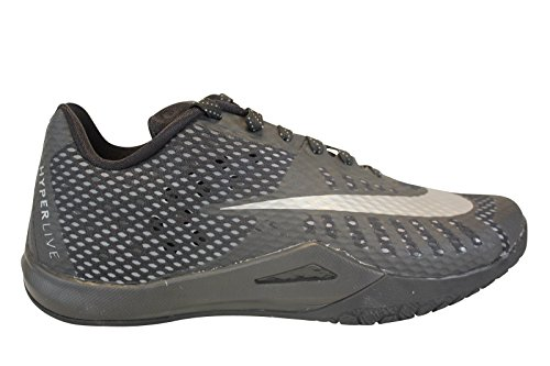 Nike Men's HyperLive Basketball Shoe Black/Dark Grey/Cool Grey/Metallic Silver Size 9.5 M US