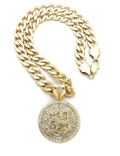 NYFASHION101 Stone Stud 69 Round Medal Spinner Pendant with 11mm Cuban Chain Necklace, Gold-Tone/20 (Medal Gold Tone Gold)