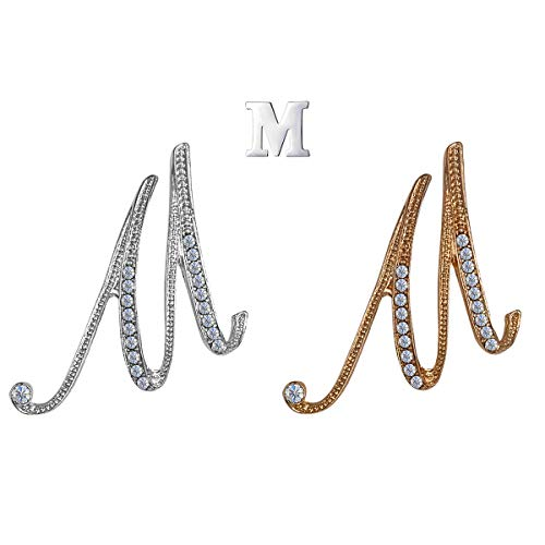 XGALA 3 Pcs Letters M Plated Metal Clear Crystal Lapel Pin Brooches Collar