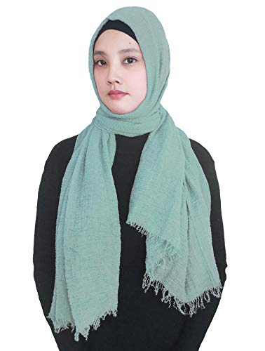 - Lina & Lily Solid Color Crepe Crinkled Scarf Hijab with Frayed Edges (Dusty Mint)