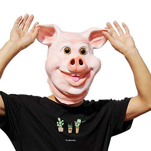 PartyHop - Happy Pig Mask - Halloween Party Funny Cute Latex Animal Head Mask]()