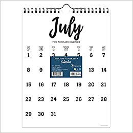 tf publishing 19 6204a july 2018 june 2019 black white script monthly wall calendar 9 x 12 black white