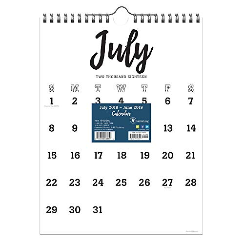 - TF Publishing 19-6204A July 2018 - June 2019 Black & White Script Monthly Wall Calendar, 9 x 12