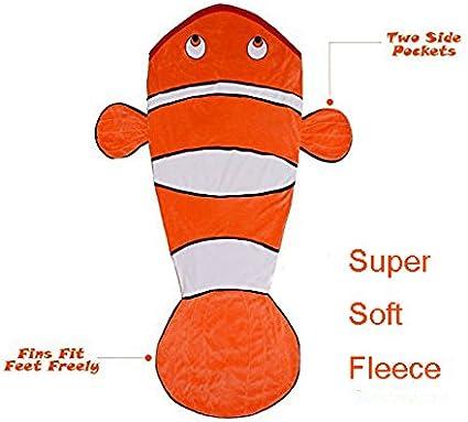 Geekbuzz Q Couverture polaire queue de poisson clown douce pour enfants de sac de couchage pour enfants de 3 10/ans