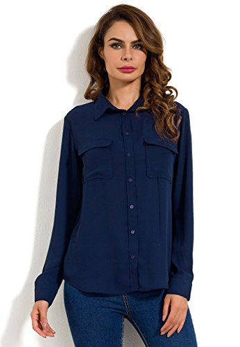 MSHING Women's Chiffon Casual Button Down Blouse with Pockets Loose Long Sleeve Tops Shirt