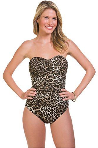 Penbrooke Catwalk Shirred Bandeau One Piece Swimsuit Size 16 Brown