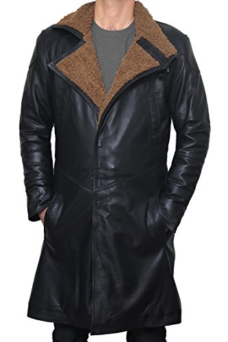 Decrum BladeRunner Black Long Trench Leather Mens Shearling Coat | PU Black, M by Decrum