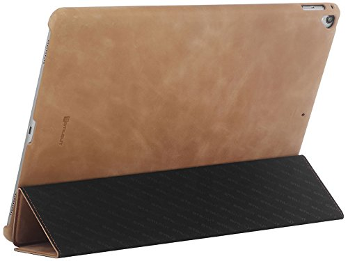 StilGut Case for Apple iPad Pro 12.9'' (2017 and Previous Editions), Genuine Leather Case with Folded Cover Design, Stand Function & Smart-Cover (Auto Sleep, Wake-up), Cognac Vintage by StilGut