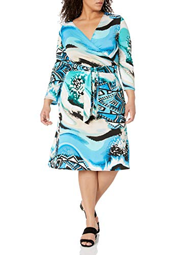 Star Vixen Women's Petite 3/4 Sleeve Faux Wrap Dress, Blue Abstract Print, PXL