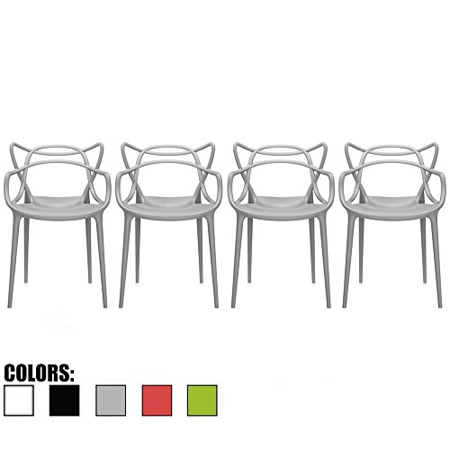 2xhome Set of 4 Gray Stackable Contemporary Modern Designer Plastic Chairs with Arms Open Back Armchairs for Kitchen Dining Chair Outdoor Patio Bedroom Accent Patio Balcony Office Work Garden Home