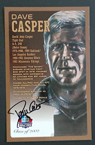 PRO FOOTBALL HALL OF FAME Dave Casper Signed Bronze Bust Set Autographed Card with COA (Limited Edition #93 of 150)