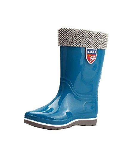 Stivali Di Pioggia Blu Stivali Donna Di Al Gomma Giardino Impermeabile Ginocchio Neve Oa6xY