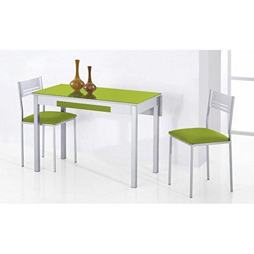 SHIITO Mesa de Cocina Extensible 90x50 cm con un ala caida y Tapa de Cristal