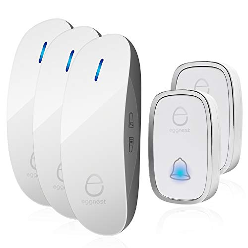 Wireless Doorbell Door Chime Kit Portable Waterproof Push Button over 900ft Long Range 4-Level Volume & Blue Light 36 Melodies to Choose-White (2Transmitters-3Receivers)
