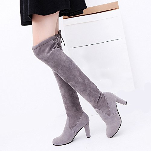 Knee Slim High Grigio Faux Scarpe Sneakers Natale Boots Outdoor Donna Calda Stringate Heels Stretch Oyedens Vendita Shoes Corsa Over Da Stivali Sportive fP7WqxZw