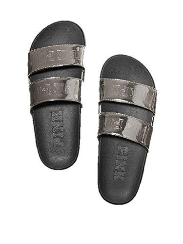 (Victoria's Secret PINK Double Strap Slide Sandals Silver Black - Medium 7/8)