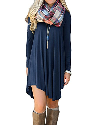 Ladylala Women's Long Sleeve Casual Loose Tunic T-Shirt Party Dress Navy Blue M