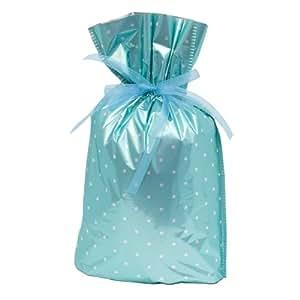 Gift Mate 21058-6 6-Piece Drawstring Gift Bags, Medium, Teal Polka Dot