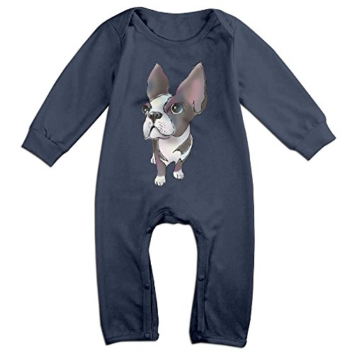 Infant Boston Terrier Costume (EVPOPC LVMI Girl Boy Clothing Long Sleeve The Boston Terrier One Pieces Summer Romper 18 Months)